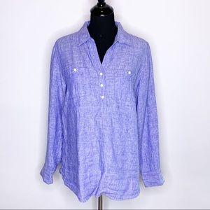 Talbots blue linen popover long sleeve top